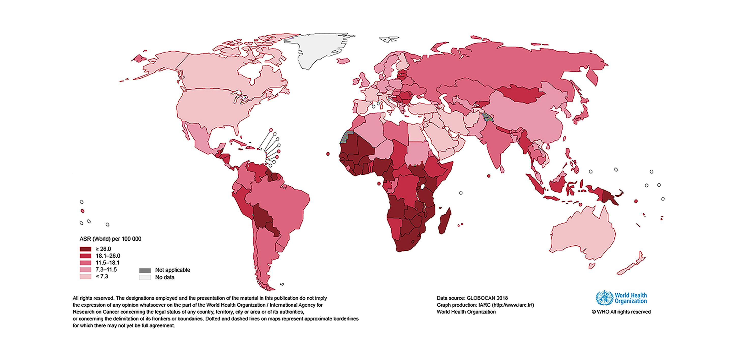 Estimated age-standardized incidence rates (World) in 2018