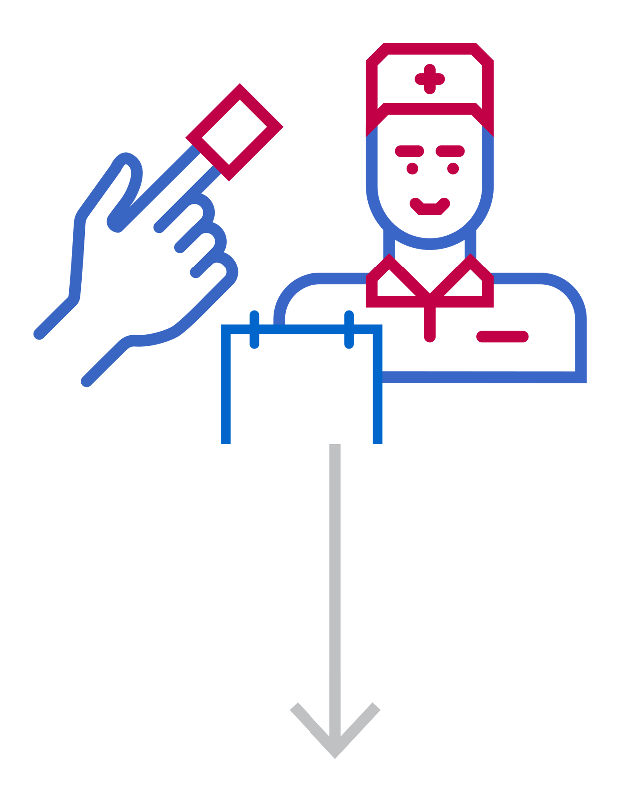 Icon of a nurse and a hand