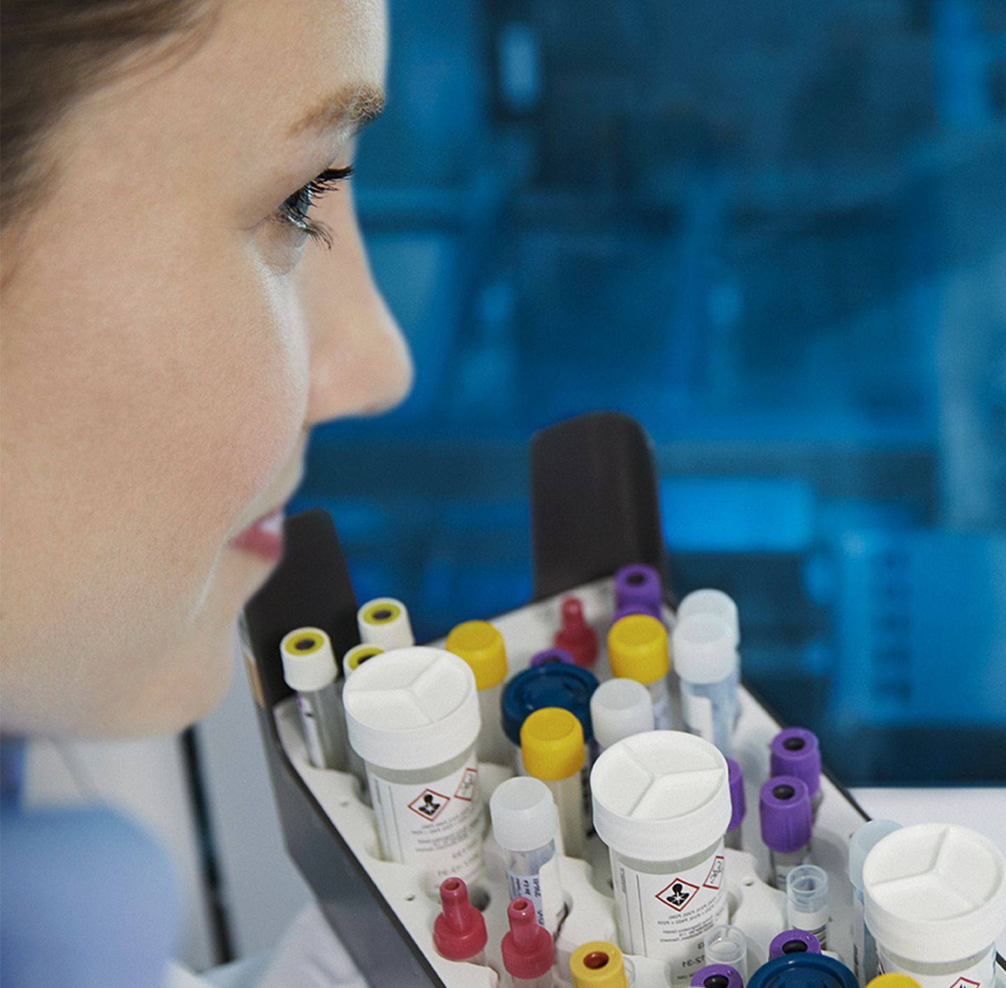 close-up of lab technician's face, consolidation image