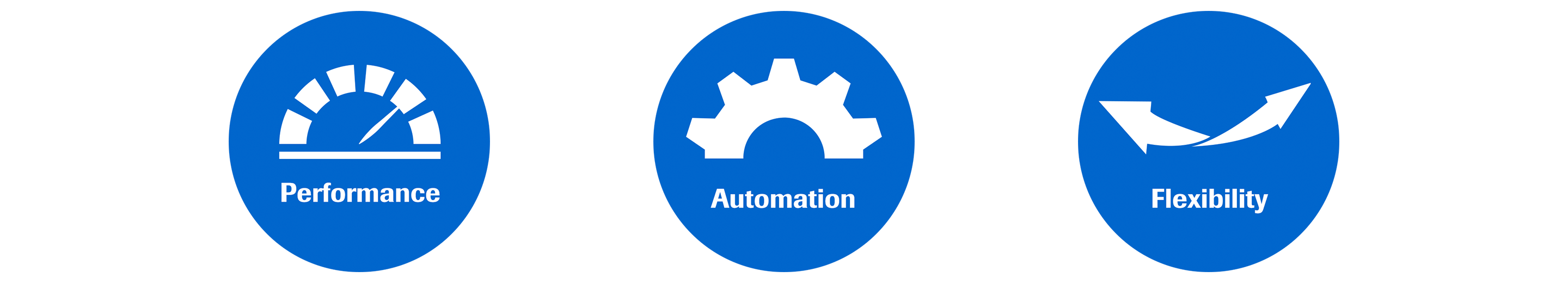 Performance, automation, and flexibility icons