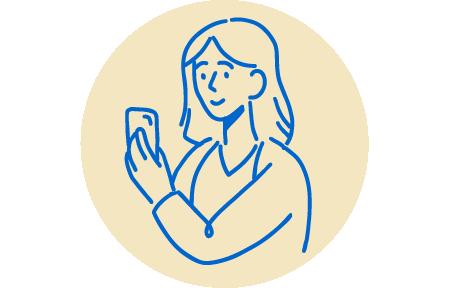 illustration - woman holding phone