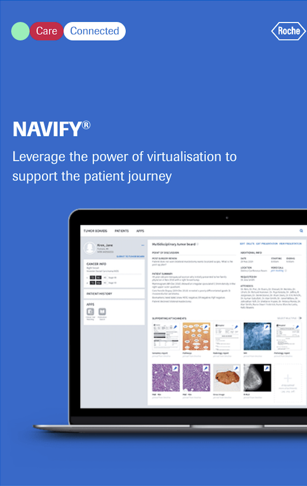 """Screenshot of Roche NAVIFY software, reading """"Leverage the power of virtualisation to support the patient journey"""""""