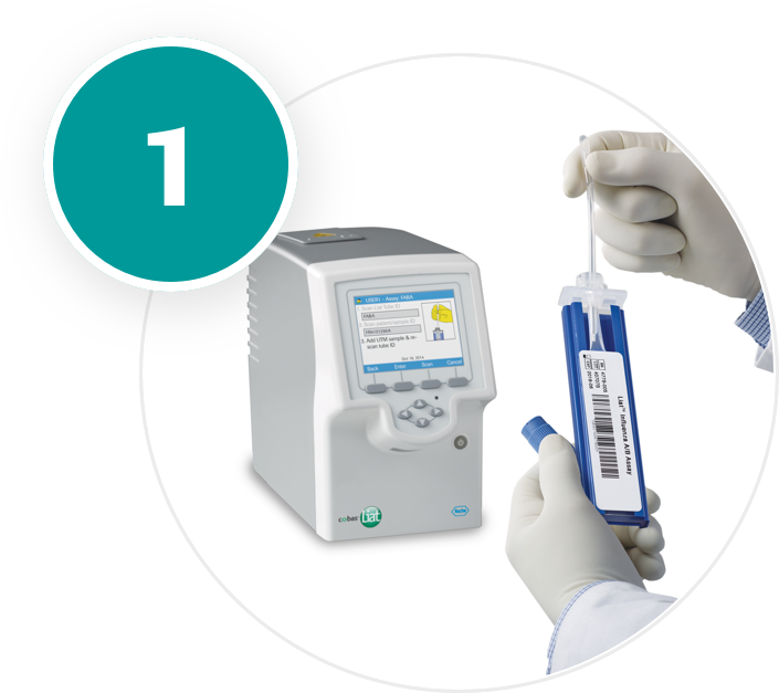 The cobas® Liat® assay for PCR testing the patient sample.