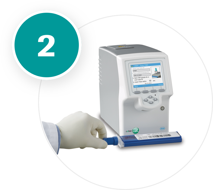 Scanning the assay tube's barcode is part of the three-step workflow.