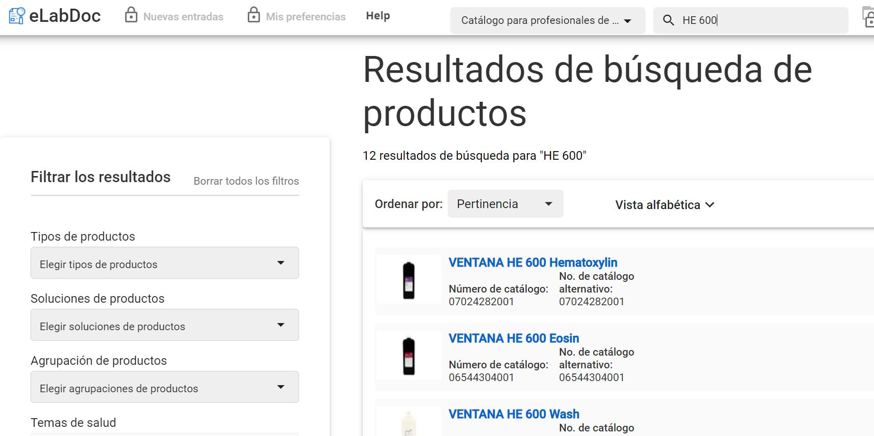 Roche VENTANA HE 600 product results in eLabDoc