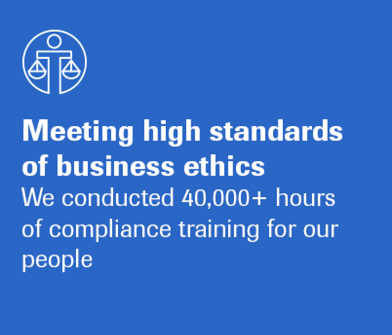Meeting high standard of business ethics